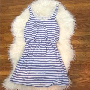 Splendid White and Blue Striped Sleeveless Dress
